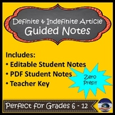 Spanish Definite & Indefinite Article Guided Notes and Key