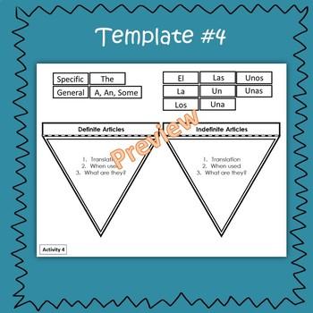Spanish Definite & Indefinite Articles Interactive Notebook Activity Bundle