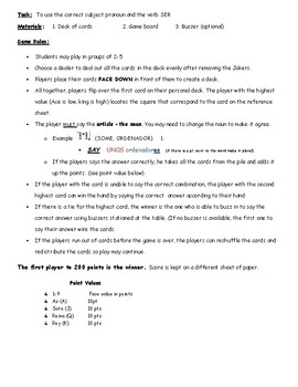 Spanish Definite/Indefinite Articles game