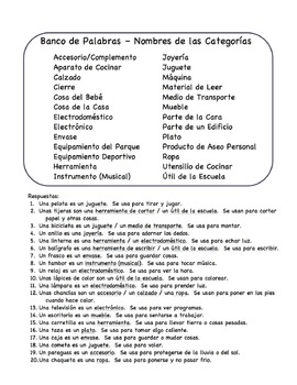 Spanish Sentence Frame Flashcards - Defining by Category and Function