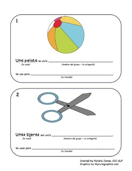 Spanish Sentence Frame Flashcards - Defining by Category a