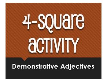 Spanish Demonstrative Adjective Four Square Activity