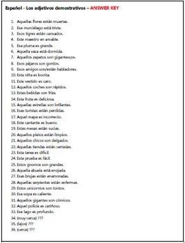 Spanish - Demonstrative Adjective TASK CARDS