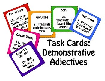 Spanish Demonstrative Adjective Task Cards