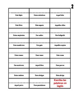 Spanish Demonstrative Adjectives Activities (Speak, Read, Listen, Write)