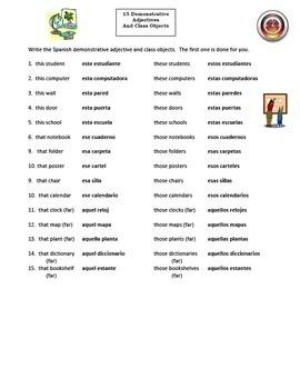 Spanish Demonstrative Adjectives Bundle of 8 Worksheets