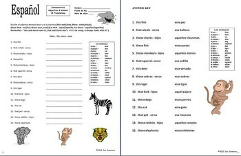 Spanish Demonstrative Adjectives Bundle of 8 Worksheets