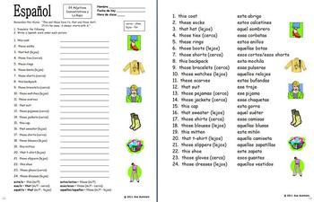 Spanish Demonstrative Adjectives &amp- Clothing Worksheet #3 by Sue ...