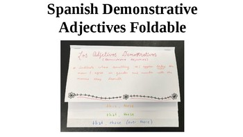 Spanish Demonstrative Adjectives Foldable