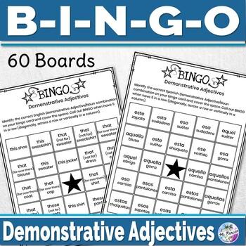 Spanish Demonstrative Adjectives Game - Spanish Game Bingo Bundle