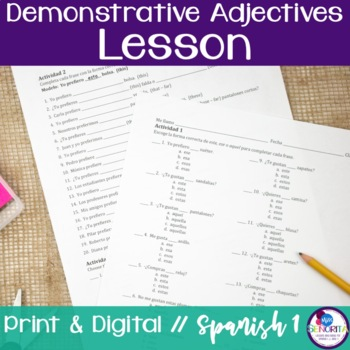 Spanish Demonstrative Adjectives Lessons