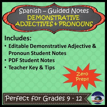 Spanish Demonstrative Adjectives & Pronouns - Guided Notes and Key