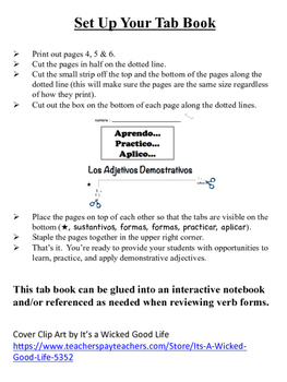 Spanish Demonstrative Adjectives Tab Book