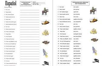 spanish demonstrative adjectives and transportation worksheet 1 by sue summers. Black Bedroom Furniture Sets. Home Design Ideas