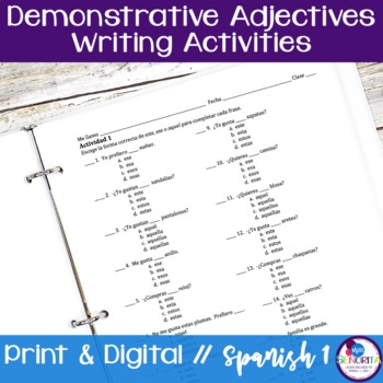 Spanish Demonstrative Adjectives Writing Activities
