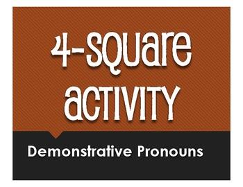 Spanish Demonstrative Pronoun Four Square Activity