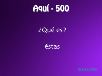 Spanish Demonstrative Pronoun Jeopardy-Style Review Game