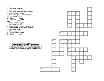 Spanish Demonstrative Pronoun Puzzle Pack