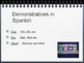 Spanish Demonstratives PowerPoint Slideshow Presentation