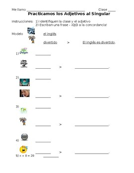 Spanish Describing Classes/Objects Practice