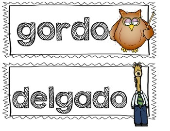 Spanish Describing Words Picture Cards