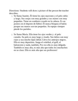 Spanish Description Activity
