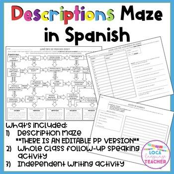 Spanish Descriptions Activities