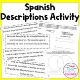 Spanish Descriptions Higher Order Thinking Activity (Editable)