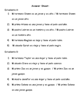 Spanish Descriptions Partner Work (Realidades ch. 5B)