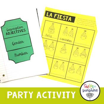 Spanish Descriptive Adjective: Interactive Notebook Flip Book, Activity,  Poster