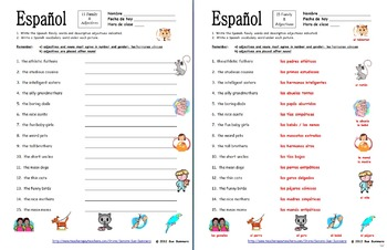 Spanish Family & Descriptive Adjectives - 15 Vocabulary Translations