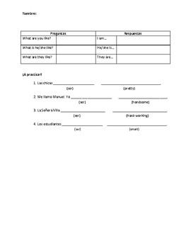 Spanish Descriptive Adjectives Notes