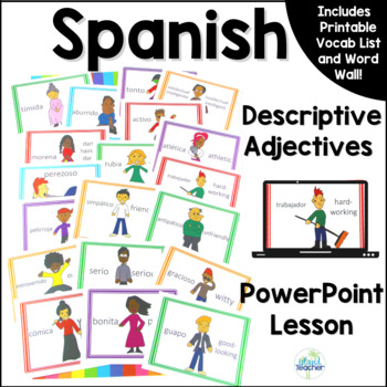 Spanish Descriptive Adjectives PowerPoint Lesson Word Wall