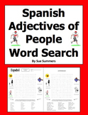 Spanish Adjectives Word Search Puzzle and Vocabulary - Descriptive Adjectives