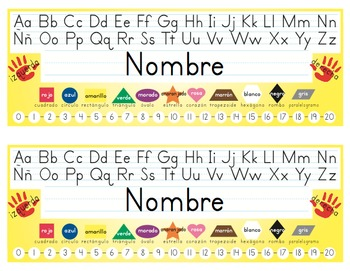Spanish Desk Name Tags 8.5x11 in Microsoft Word (Multicolor and Editable)