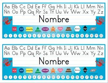 Spanish Desk Name Tags 8.5x11 in Microsoft Word (Multicolo