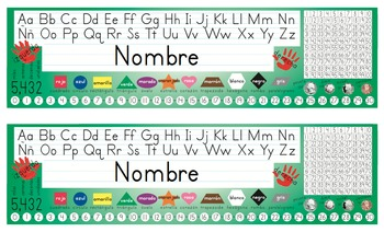 Spanish Desk Name Tags 8.5x14 in Microsoft Word (Multicolor and Editable)