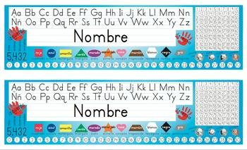 Spanish Desk Name Tags 8.5x14 in Microsoft Word (Multicolo