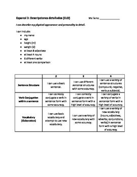 Spanish - Detailed Descriptions Assessment Directions