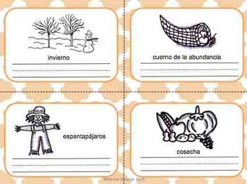 Dia de Accion de Gracias - Tarjetas de vocabulario en Español