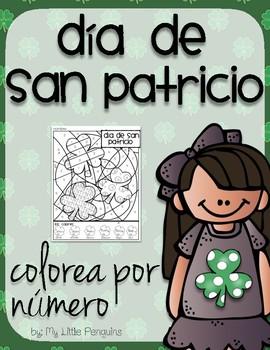 Spanish Día de San Patricio Color by number page