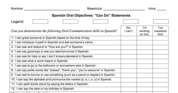 """Spanish Diagnostic / Self-Assessment Oral """"Can Do"""" Statements (Realidades 1)"""