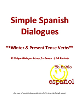 Spanish Dialogues Using Winter Activities Vocabulary and Verbs