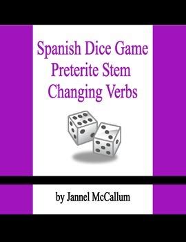 Spanish Dice Game - Preterite Stem Changing Verbs