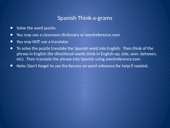 Spanish Dictionary Practice with Word Puzzles
