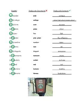 Spanish Dictionary Worksheet:  False Friends / False Cognates