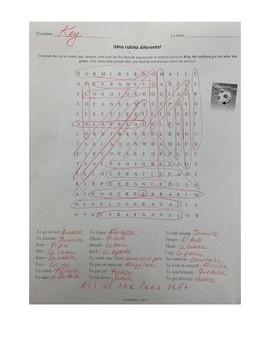 Spanish Different Routine Hidden Message Word Search
