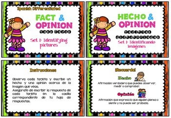 Spanish Differentiated FACT & OPINION Task Cards (Hecho y opinión)