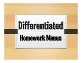 Differentiated Homework Menu