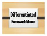 Differentiated Homework Menu